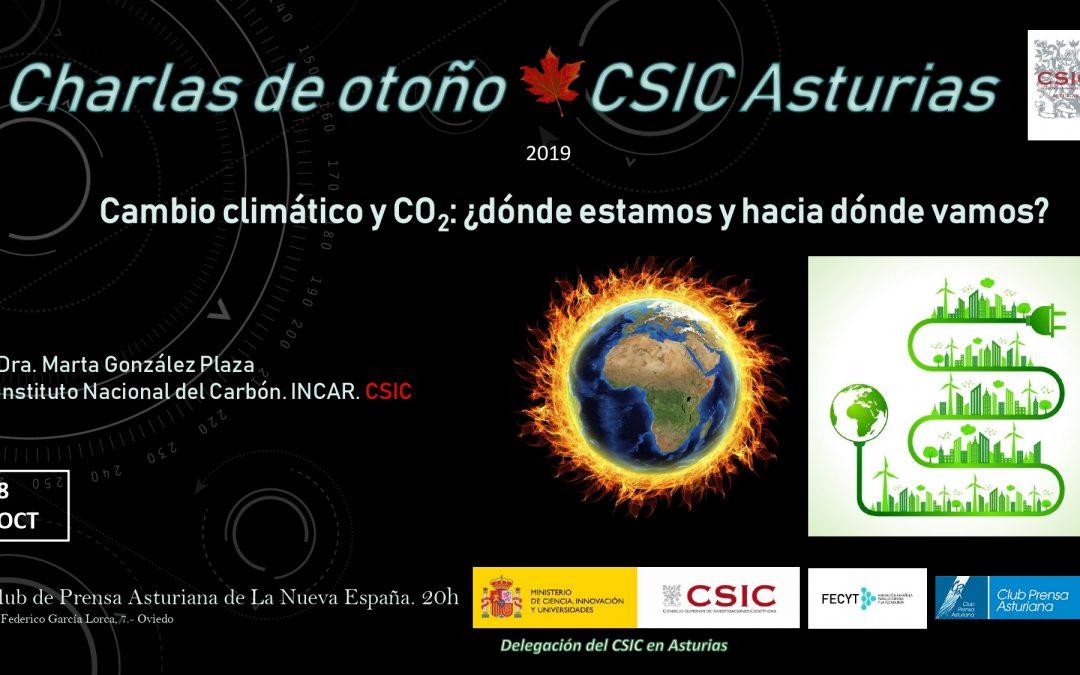 Las Charlas de Otoño – Cambio Climático y CO2 ¿dónde estamos y hacia dónde vamos? –  Dra. Marta González Plaza