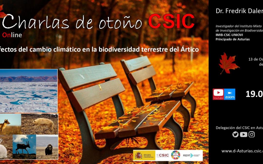 Las Charlas de Otoño (Online) – Efectos del Cambio Climático en la Biodiversidad Terrestre del Ártico – Dr. Fredrik Dalerum