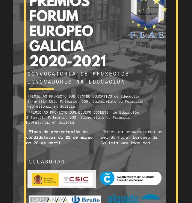 Premios Forum Europeo Galicia 2020-2021 a proyectos innovadores en la educación gallega
